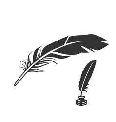Writing pen pen in inkwell vector