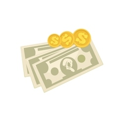 Set of cash paper money and coins vector image vector image