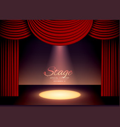 theater scence with red curtains and falling spot vector image vector image