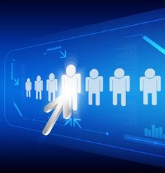 arrow click human icon vector image vector image