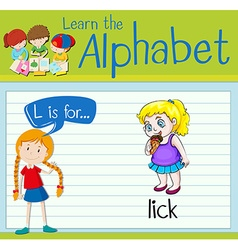 Flashcard letter l is for lick vector