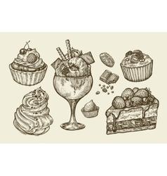 Food dessert Hand drawn ice cream meringue vector image vector image