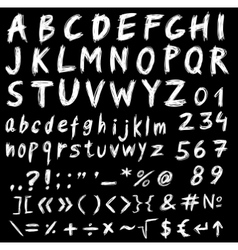 Hand drawn ink stylized font vector image