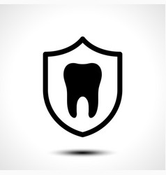 tooth with protective shield on white background vector image vector image
