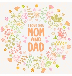 Card Mom and Dad vector image vector image