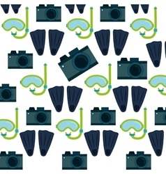 Photo camera flippers snorkel mask seamless vector
