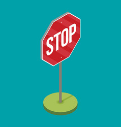 a stop sign on a pole in flat style vector image