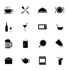 black food icons set vector image vector image