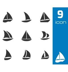 Black sailboat icons set vector