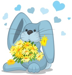 Blue rabbit with daisy flowers vector image vector image