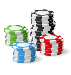 Casino chips stacks - gambling chips vector image