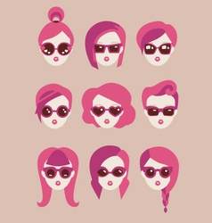 fashion girls in glasses icon set vector image vector image