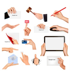 hands holding business objects vector image vector image