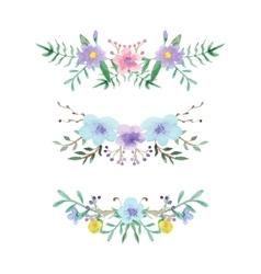 Watercolor floral border set vector image vector image