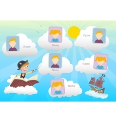 Yearbook about boy pirate and clouds vector image