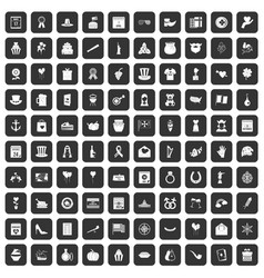 100 calendar icons set black vector image