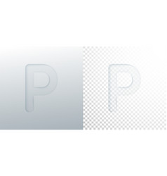 3d paper cut letter p isolated on transparent vector image