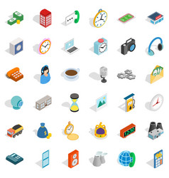 Address icons set isometric style vector
