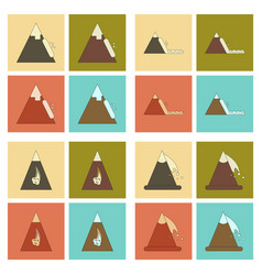 Assembly flat icons mountains snow avalanche vector