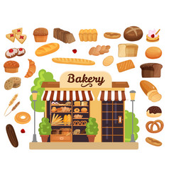 bakery products flat set vector image