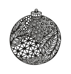 black and white christmas ball hand-drawn vector image