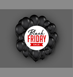 black friday sale background with flying balloon vector image