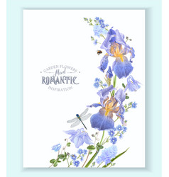Blue flower wave border vector