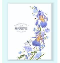 blue flower wave border vector image