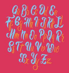 Brush lettering font alphabet vector