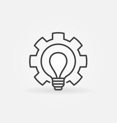 bulb in gear outline icon - cogwheel with vector image