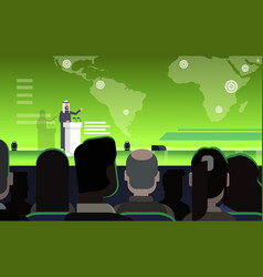 Business conference with arab businessman vector