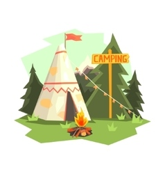 Camping place with bonfire wigwam and forest vector