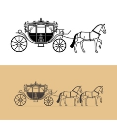 Carriage silhouette with horse vector