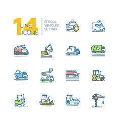 cars - set line design style colorful icons vector image