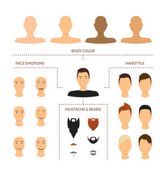 cartoon man face constructor elements icon set vector image