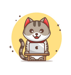 Cat working on laptop icon vector