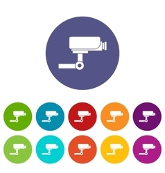 CCTV camera set icons vector