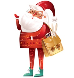 christmas with santa claus on a white background vector image