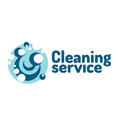 Cleaning service logo Soap foam bubbles vector image