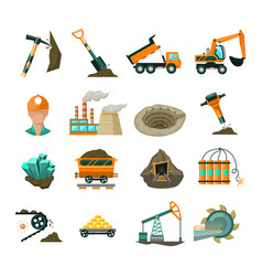 coal mining equipment flat icons set vector image