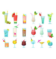 cocktails glasses with alcoholic drinks vector image