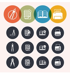 collection Circle Series icons Measurement Instrum vector image