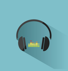 Color headphones with music icon on blue vector