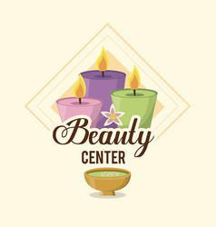 Colorful logo of beauty center with set of candles vector