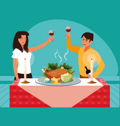 Couple celebrating thanksgiving day vector