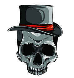 cowboy skull wearing a stylish brown fedora hat vector image