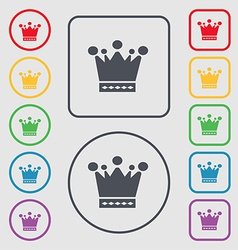 Crown icon sign symbol on the Round and square vector image