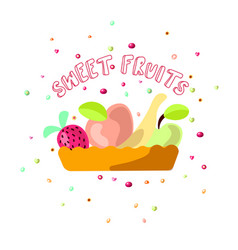 cute cartoon of sweet fruits vector image