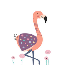 Cute flamingo in flowers poster for baby room vector
