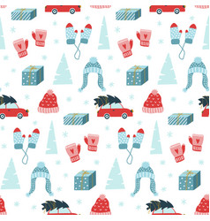 cute hand drawn christmas seamless pattern vector image